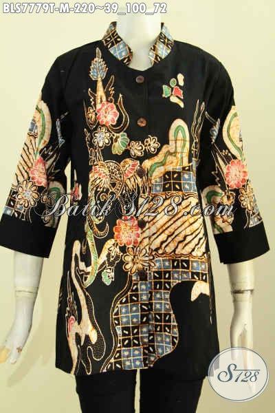 Baju Blus Modern Bahan Batik Tulis Halus, Pakaian Batik Kerah Shanghai Berkelas Desain Terbaru Trend Masa Kini Harga 220K [BLS7779T-M]