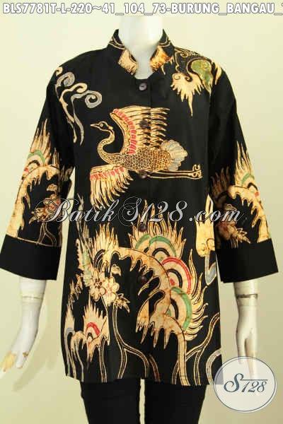 Batik Blus Kwalitas Premium, Pakaian Batik Jawa Tengah Halus Model Kerah Shanghai Motif Burung Bangau Terbang Proses Tulis Harga 220K [BLS7781T-L]