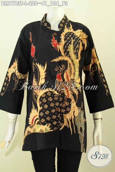 Blus Batik Motif Unik, Baju Batik Elegan Model Kerah Shanghai, Pakaian Batik Modis Untuk Kerja Dan Acara Resmi, Proses Tulis Tampil Terlihat Berkelas [BLS7783T-L]