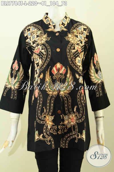 Batik Blus Elegan, Baju Batik Jawa Tengah Khas Solo Nan Berkelas Motif Keren Proses Tulis Dengan Model Kerah Shanghai, Wanita Terlihat Mempesona [BLS7784T-L]