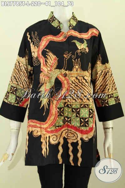 Pusat Baju Batik Kerja Kantoran, Sedia Blus Kerah Shanghai Wanita Karir, Pakaian Batik Bekelas Proses Tulis Motif Unik 200 Ribuan [BLS7785T-L]