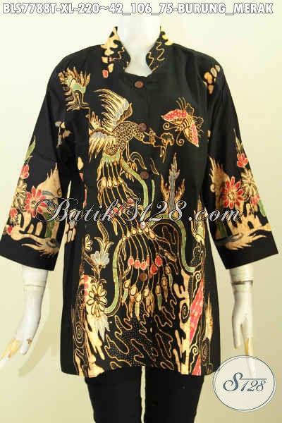 Sedia Baju Batik Blus Motif Burung Merak, Pakaian Batik Istimewa Bahan Halus Proses Tulis, Cocok Buat Ke Kantor Dan Acara Resmi [BLS7788T-XL]
