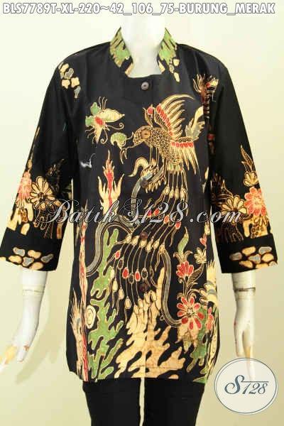 Baju Batik Modern Wanita Untuk Kerja, Blus Kerah Shanghai Istimewa Proses Tulis Motif Burung Merak Khas Jawa Tengah, Menunjang Penampilan Makin Sempurna [BLS7789T-XL]