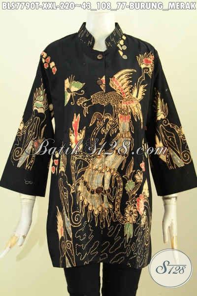 Blus Batik Kerah Shanghai Big Size, Pakaian Batik Jawa Terkini Spesial Untuk Wanita Gemuk Motif Burung Merak Proses Tulis Kwalitas Premium Hanya 200 Ribuan [BLS7790T-XXL]
