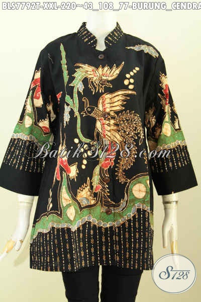 Jual Batik Bluls Jumbo, Pakaian Batik ELegan Istimewa Buatan Solo Asli Model Kerah Shanghai Motif Burung Cendrawasih Proses Tulis, Spesial Untuk Wanita Karir Badan Gemuk [BLS7792T-XXL]