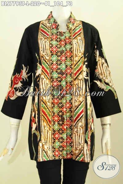Blus Batik Kombinasi, Baju Batik Kerah Shanghai Size L Motif Mewah Proses Tulis, Di Jual Online 220 Ribu [BLS7793T-L]