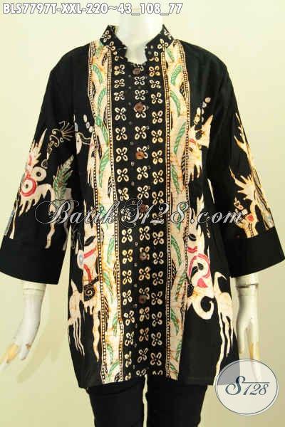 Model Baju Batik Wanita Terkini, Blus Kerah Shanghai Big Size Motif Kombinasi Desain Kekinian Proses Tulis Kwalitas Premium, Pas Untuk Seragam Kerja Kantoran [BLS7797T-XXL]