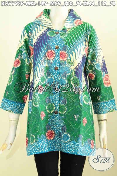 Blus Batik Cantik Model Krah, Baju Batik Wanita Muda Dan Dewasa Motif Bunga Proses Printing Kwalitas Bagus Hanya 145K [BLS7798P-M]