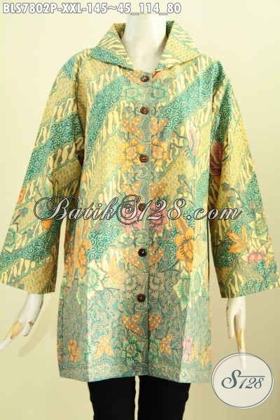 Baju Blus Batik Solo Big Size, Pakaian Batik Modern Wanita Gemuk Karir Aktif Model Pake Krah Harga 145 Ribu [BLS7802P-XXL]