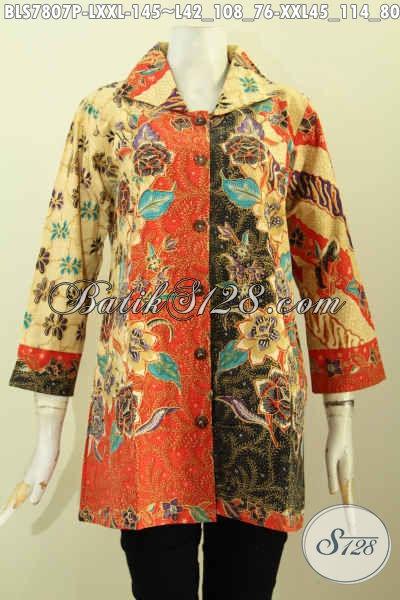 Aneka Baju Batik Blus Wanita Dewasa, Blus Model Krah Kwalitas Istimewa Buatan Solo Asli, Pilihan Tepat Untuk Tampil Modis Dan Keren [BLS7807P-L , XXL]