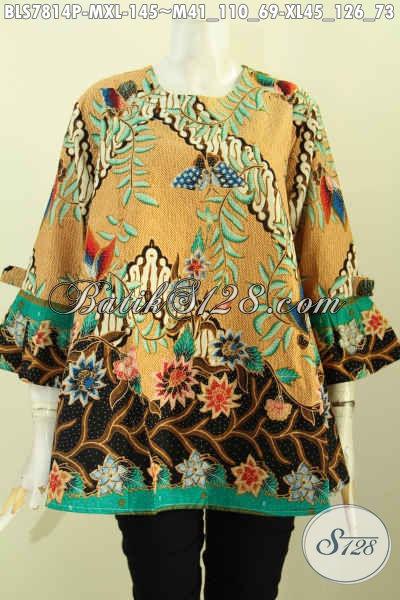 Blus Batik Trendy Nan Modis, Cocok Untuk Kerja Dan Lebaran, Baju Batik Tanpa Krah Lengan Berpita Di Jual Online 145K [BLS7814P-M]