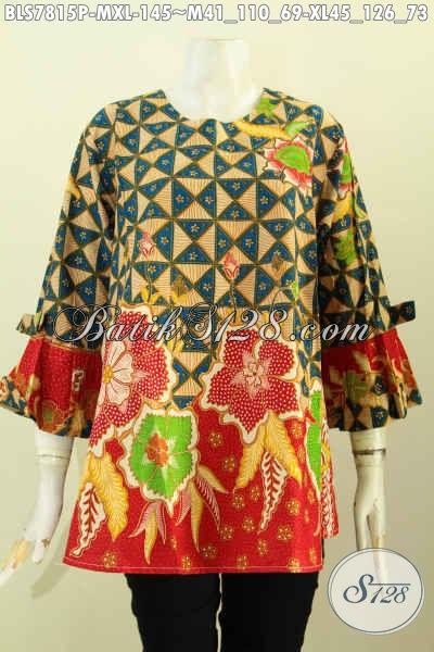 Toko Online Baju Batik Solo, Sedia Blus Lengan Berpita Model Tanpa Krah Motif Kombinasi Proses Printing, Tampil Gaya Mempesona [BLS7815P-M]