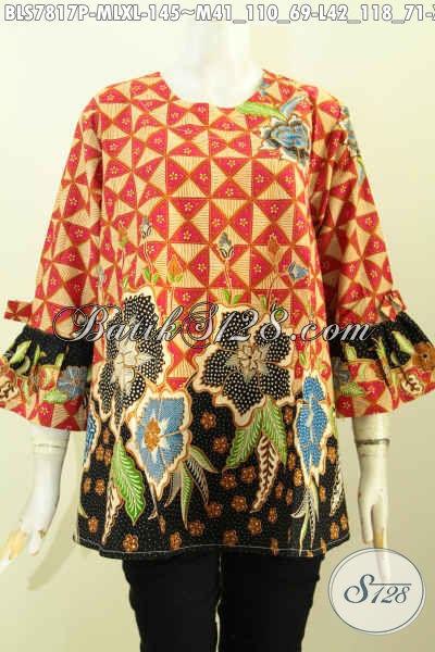 Aneka Busana Batik Trendy Untuk Wanita Yang Ingin Bergaya, Blus Tanpa Krah Lengan Pakai Pita Motif Keren Proses Printing Hanya 145K [BLS7817P-M , XL]