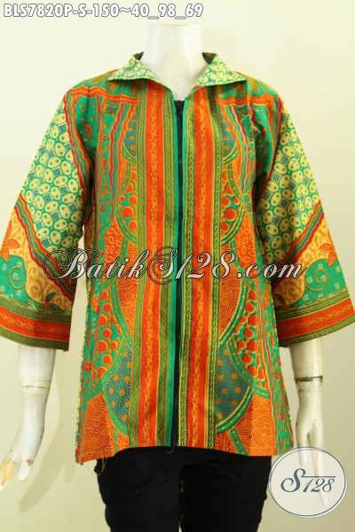 Baju Batik Atasan Wanita Desain Resleting Depan, Baju Batik Klasik Motif Sinaran Proses Printing, Tampil Elegan Dan Mewah Hanya 150K [BLS7820P-S]