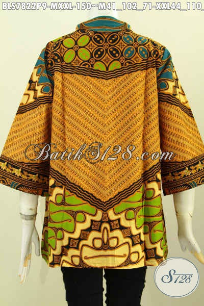 Batik Blus Klasik Motif Sinaran, Baju Batik Printing Desain Resleting Depan Buat Kerja Dan Acara Resmi Harga 100 Ribuan Saja [BLS7822P-XXL]