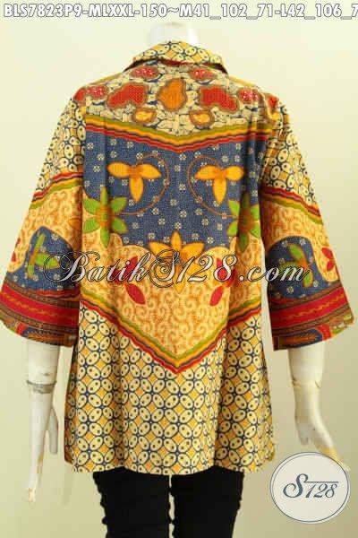 Produk Batik Blus Solo Mewah Desain Resleting Depan, Busana Batik Solo Halus Proses Printing Motif Sinaran Hanya 100 Ribuan, Size M