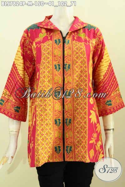 Koleksi Terkini Blus Batik Resleting Depan Kwalitas Istimewa Bahan Adem Proses Printing Motif Sinaran Untuk Tampil Gaya Dan Anggun, Size M