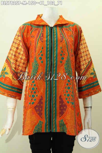 Batik Blus Mewah Harga Murah, Baju Batik Solo Istimewa Untuk Kerja Dan Acara Formal Motif Sinaran Pritning Printing Halus Hanya 150 Ribu, Size M