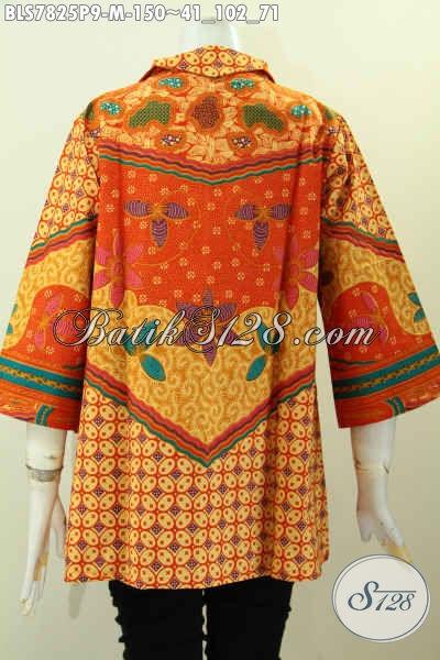 Blus Batik Elegan, Baju Batik Klasik Printing Motif Sinaran, Pakaian Batik Modis Dengan Resleting Depan Bikin Wanita Terlihat Menawan [BLS7825P-M]