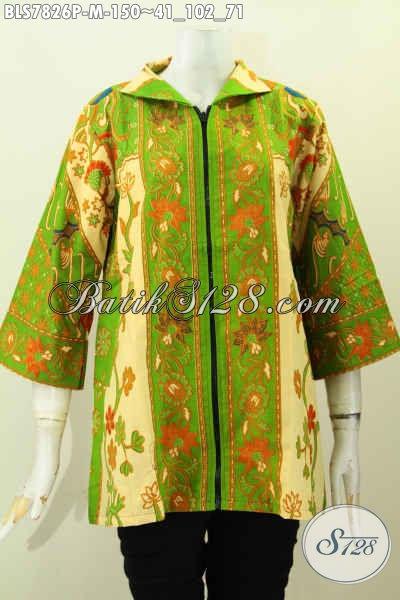 Blus Batik Printing Hijau Muda, Baju Batik Elegan Desain Terkini Bahan Halus Dengan Resleting Depan Trend Mode 2017, Cocok Buat Ke Kantor Maupun Kondangan [BLS7826P-M]
