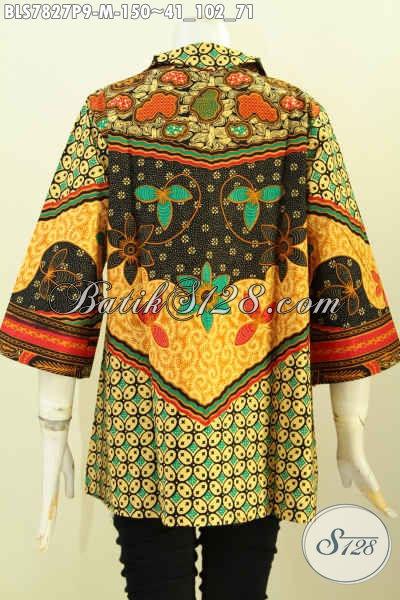 Busana Modis Dan Elegan, Baju Batik Atasan Wanita Karir, Blus Batik Solo Printing Motif Sinaran Model Resleting Depan, Tampil Makin Gaya [BLS7827P-M]