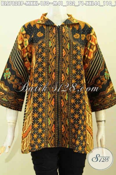 Batik Blus Solo Halus Elegan Mewah Harga 100 Ribuan, Baju Batik Wanita Muda Model Resleting Depan Yang Bikin Penampilan Anggun Menawan, Size M