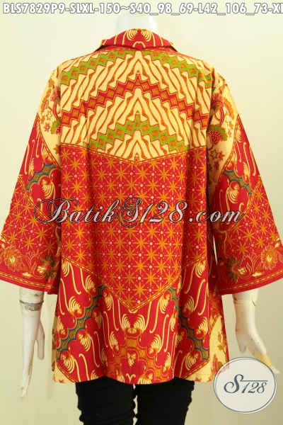 Toko Online Busana Batik Wanita Lengkap, Sedia Blus Resleting Depan ELegan Motif Sinaran Proses Printing Hanya 150K, Size L – XL
