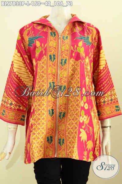 Blus Batik Jawa Tengah Asli, Baju Batik Elegan Desain Mewah Pakai Resleting Depan Motif Klasik Sinaran Proses Printing Harga 150K [BLS7833P-L]