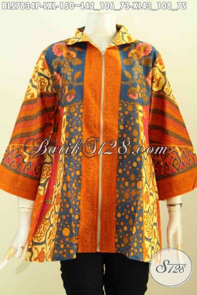 Jual Batik Blus Wanita Dewasa, Produk Busana Batik Model Resleting Depan Proses Printing Hanya 150K, Size L – XL