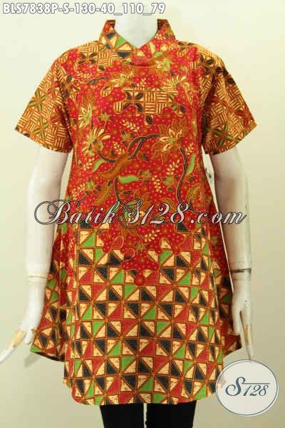 Blus Krah Shanghai Bahan Batik Motif Mewah Printing, Pakaian Batik Lengan Pendek Cocok Untuk Seragam Kerja, Size S