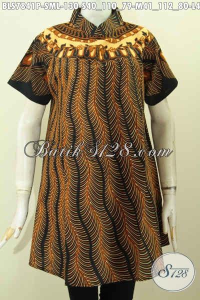 Pakaian Batik Solo Terkini, Blus Batik Modern Jawa Tengah Untuk Tampil Beda Model Krah Shanghai, Size S – M – L