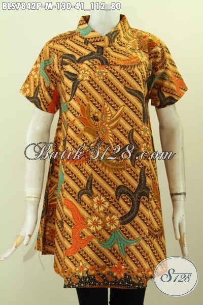 Batik Blus Istimewa Model Krah Shanghai Modis Bahan Adem Motif Klasik Lengan Pendek, Cocok Buat Ke Kantor, Size M