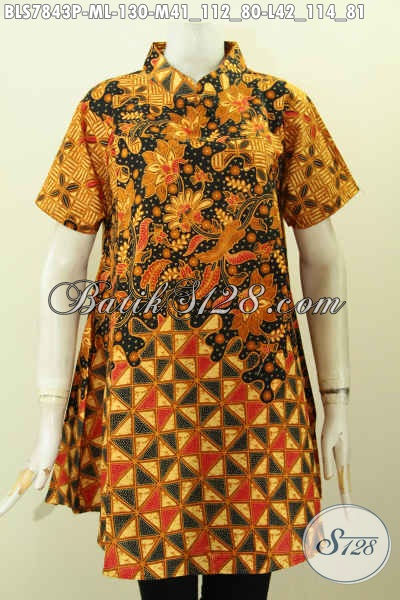 Baju Batik Atasan Wanita Terbaru 2019, Blus Kerah Shanghai Elegan Bahan Halus Proses Printing Motif Berkelas Lengan Pendek Hanya 130K [BLS7843P-M]