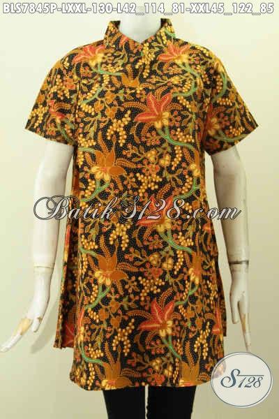 Baju Batik Halus Motif Klasik, Busana Batik Elegan Wanita Masa Kini Model Kerah Shanghai Lengan Pendek, Penampilan Lebih Anggun Dan Mempesosona [BLS7845P-L]