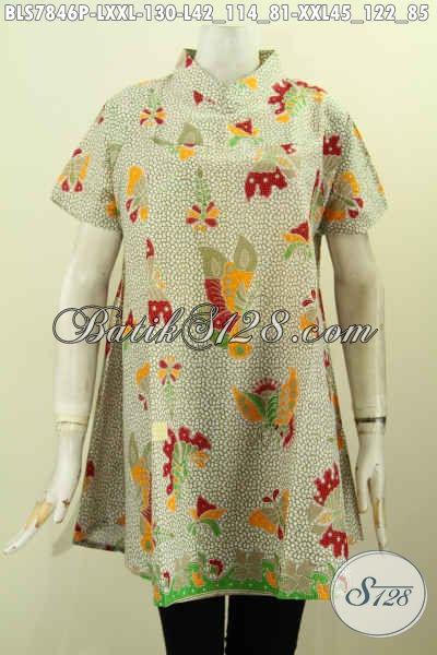 Seragam Kerja Batik Elegan Kerah Shanghai, Baju Batik Lengan Pendek Wanita Masa Kini Motif Unik Proses Printing Harga 130K [BLS7846P-XXL]