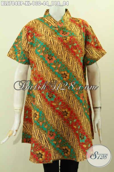 Baju Batik Atasan Wanita Kantor, Pakaian Batik Klasik Printing Solo Halus Lengan Pendek Kerah Shanghai, Tampil Cantik Dan Bergaya [BLS7848P-XL]