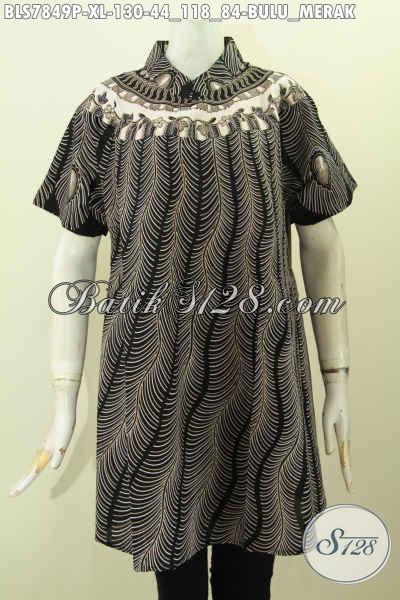 Blus Batik Motif Burung Merak, Pakaian Batik Solo Jawa Tengah Nan Istimewa Proses Printing Model Kekinian Tampil Lebih Menawan, Size XL