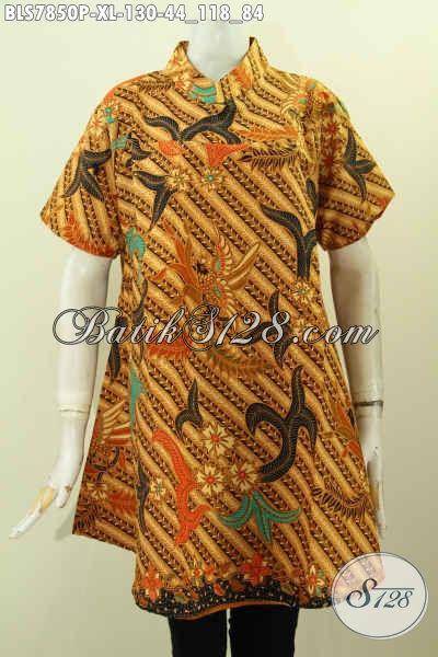 Baju Batik Klasik Printing, Blsu Kerah Shanghai Lengan Pendek Istimewa Buatan Solo Asli, Wanita Tampil Cantik Dan Berkelas [BLS7850P-XL]