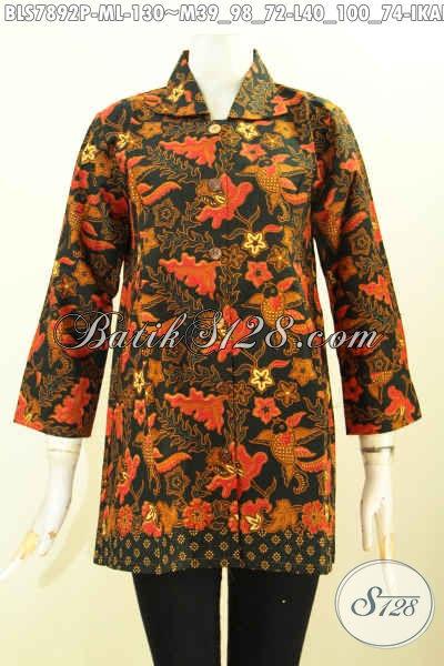 Jual Baju Batik Atasan Wanita Kantor, Blus Batik Krah Motif Berkelas Bahan Halus Proses Printing Cuma 130K [BLS7892P-M]
