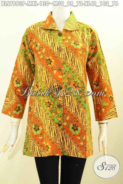 Batik Blus Motif Klasik, Baju Batik Elegan Proses Printing Model Krah Bahan Adem Nyaman Di Pakai Hanya 100 Ribuan [BLS7893P-M]