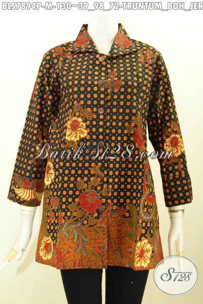 Batik Blus Klasik Istimewa, Baju Batik Solo Modern Pakai Krah Bahan Halus Motif Truntum Boh Jeruk Proses Printing Harga 130K [BLS7894P-M]