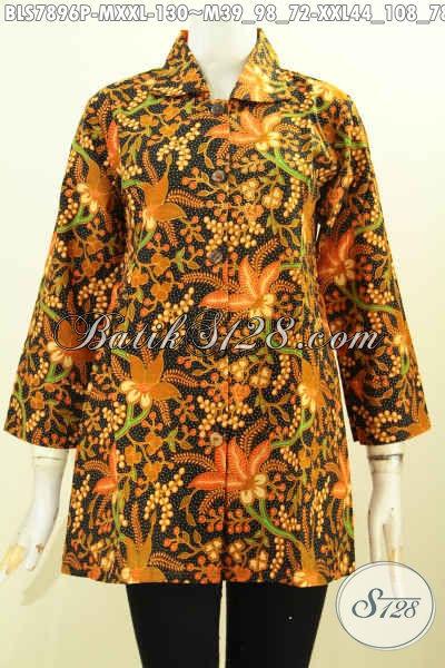 Batik Blus Solo Untuk Wanita Gemuk, Produk Pakaian Batik Wanita Modern Bahan Adem Proses Printing Yang Membuat Penampilan Cantik Mempesona, Size XXL