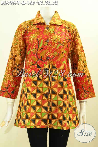 Batik Blus Istimewa Model Krah, Baju Batik ELegan Untuk Kerja Dan Acara Resmi Hanya 130 Ribu, Size M