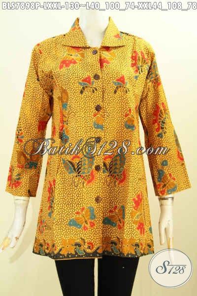 Tempat Belanja Batik Online Paling Nyaman, Sedia Blus Krah Motif Klasik Bahan Halus Proses Printing Desain Terbaru Harga 130K [BLS7898P-XXL]