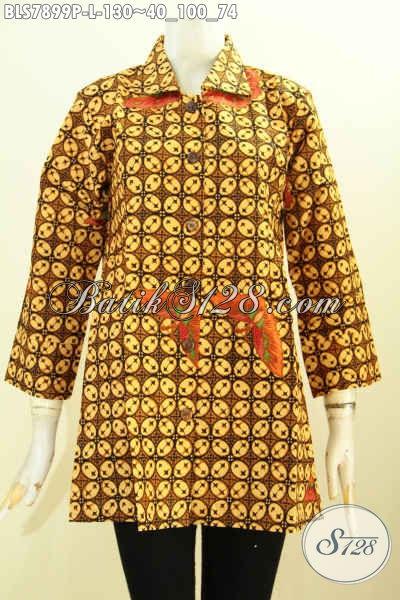 Baju Batik Blus Model Krah Motif Klasik, Pakaian Batik Printing Solo Bahan Adem Nyaman Dan Modis, Size L