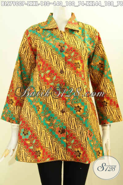 Batik Blus Wanita Kantoran, Busana Batik Elegan Motif Parang Bunga Kwalitas Istimewa Proses Printing, Size L – XXL