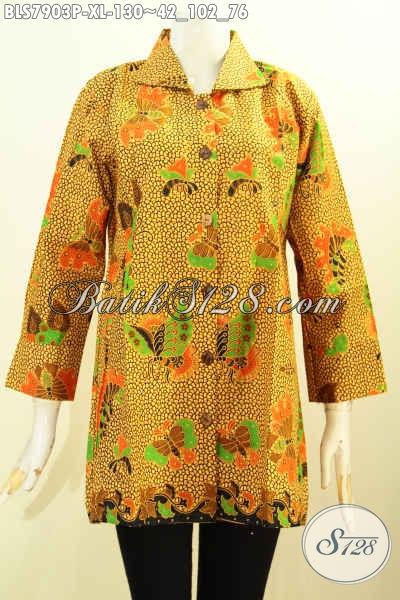 Baju Blus Kerja Motif Kupu, Busana Batik Elegan Dan Mewah Proses Printing Hanya 130K, Size XL