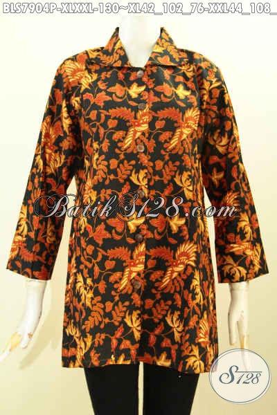 Koleksi Terbaru Aneka Pakaian Batik Wanita Dewasa, Baju Batik Kerja Model Krah Bahan Adem, Tampil Makin Cantik Size XL – XXL
