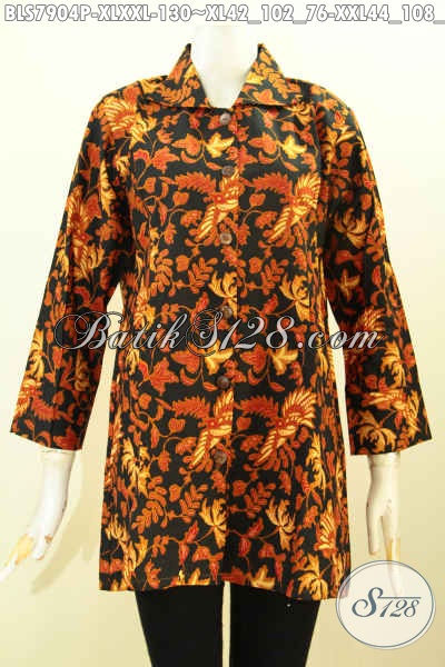 Aneka Busana Batik Wanita Dewasa, Hadir Dengan Desain Krah Berpadu Motif Klasik Berkelas Proses Printing Hanya 130 Ribu [BLS7904P-XL , XXL]
