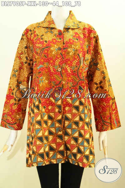 Produk Batik Wanita Gemuk, Blus Batik Model Krah Bahan Adem Proses Printing Kwalitas Istimewa, Penampilan Makin Mempesona, Size XXL